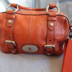 Fossil Red/Orange Small Silver Hardware Purse